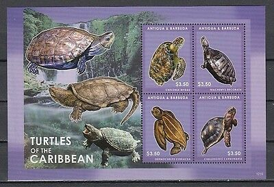 Antigua, New issue. Turtles of the Caribbean sheet of 4.