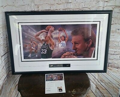 Larry Bird Mountain Dew Autographed Framed Print/Litho COA LMTD # 547 of 1100