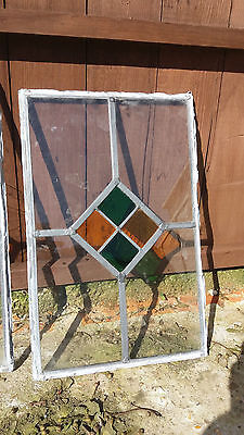 "LEADED STAINED GLASS WINDOW PANEL 21"" / 14"" - 5 available"