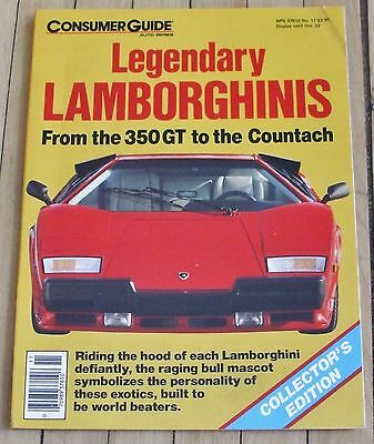 1987 Consumer Guide Magazine Legendary Lamborghinis 64 Pages All Models
