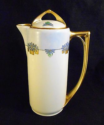 Vintage  Beautiful Rare,  Art Deco Tall Chocolate  Pot  With  Lid & Gold Trims