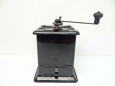 Antique Old Table Top Restored Black Hand Crank Coffee Grinder Mill Used
