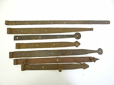 Antique Lot Old Primitive Wrought Iron Barn Door Brackets Architectural Hardware