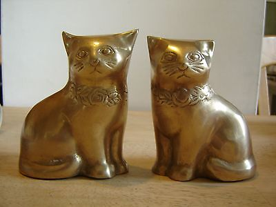 """Brass Cat Figurines Statue Pair Vintage 4 5/8"""" and 4 1/2"""""""