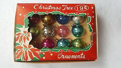 Vintage Box Japan Multi-Colored Feather Tree Glass Christmas Ornaments