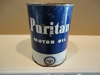 Puritan Motor Oil Quart Metal Can Gas Service Station Sign