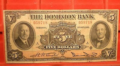 Canada 1931 $5 The Dominion Bank Chartered Large Size  Banknote