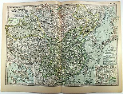 Original 1897 Map of The Chinese Empire by The Century Company