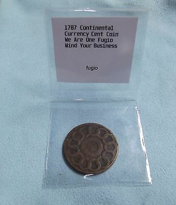 1787 Fugio Cent United States Colonial Copper Coin We Are One Mind Your Business
