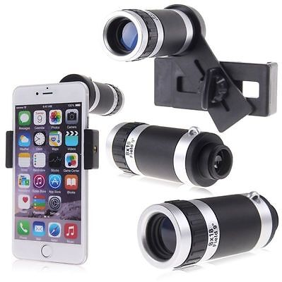 8X Zoom Telescope Optical Camera Lens with Universal Holder for Cellphone Black