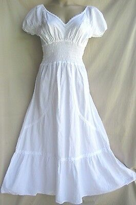 RENAISSANCE costume MEDIEVAL PEASANT white sun dress pirate wench gown XS