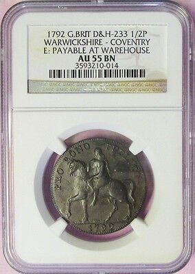 1792 Great Britain Ngc Au 55 Bn Lady Godiva Half Penny! Rare Warwickshire Covent