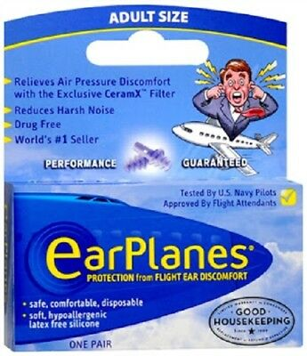 EarPlanes Ear Plugs 2 Pairs Adult Size