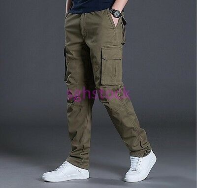 Men Thicken Washed Overalls Multi-pocket Pants Trousers Working Male Clothes M96