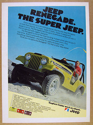 1972 AMC Jeep RENEGADE yellow jeep off-road photo vintage print Ad