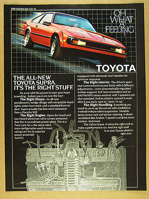 1982 Toyota SUPRA 'All-New' red car color photo vintage print Ad
