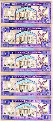LOT, Somaliland, 5 x 10 shillings, P-2a, UNC