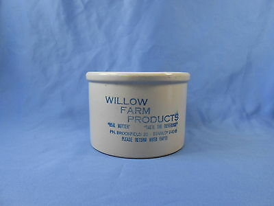 Vintage Small Advertising Willow Farm Butter Crock