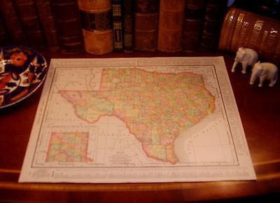 Original 1898 Antique Map TEXAS Galveston Houston San Antonio Dallas Austin TX