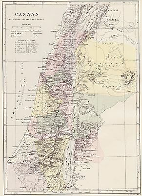 Original 1889 Antique Holy Bible Map CANAAN Holy Land 12 Tribes of ISRAEL
