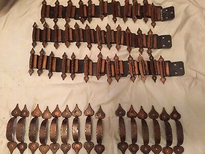 Vintage Copper Cabinet Hardware Hinges Drawer Pulls Lot