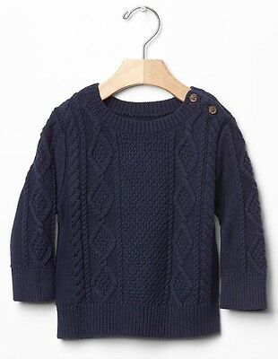 Baby Gap Toddler Boys Navy Blue Cable Knit Button Sweater NWT 6-12 Months