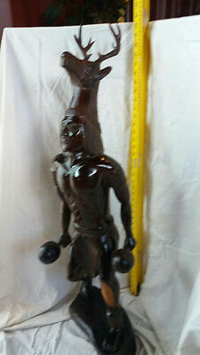 Reduced-Ship Available-Wooden Indian Deer Dancer 40 inch Tall Ironwood Statue