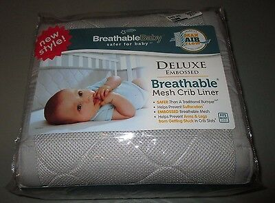 Breathable Baby Deluxe Embossed Mesh Crib Liner Adjustable - BRAND NEW NIP