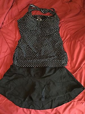 MOTHERHOOD (OH BABY) Bathing Suit Sz L  2-piece Black/White Polka Dot