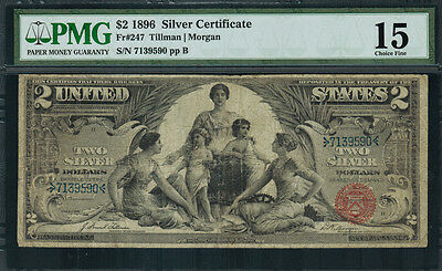 """1896 $2 Silver Certificate FR-247 - """"Educational"""" - Graded PMG 15 - Choice Fine"""