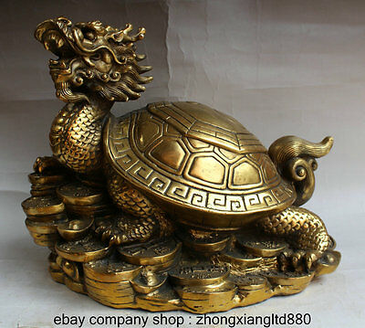 "13"" China Copper Fengshui Dragon Tortoise Turtle Longevity Yuanbao Wealth Statue"