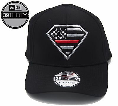 0f5dca452e8 New - New Era 39Thirty Black Superman Thin Red Line Flag Hat - Free  Shipping!