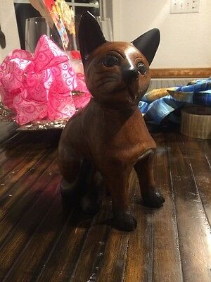 Vintage 9 Inch Tall Wood Carved Cat