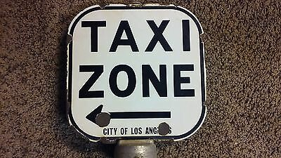 Vintage Porcelain 2 Sided Taxi Zone No Parking Gas Oil Arrow Metal Sign