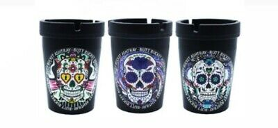 2 x Candy Skull Black Butt Bucket Ash Tray Car Cigarette Rubbish