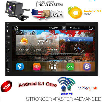 """Backup Camera+Android 8.1 WiFi 7"""" Double 2DIN Car Radio GPS Stereo no-DVD Player"""
