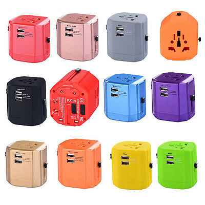 Universal Travel Adapter International World With Dual USB Charger Wall AC Power