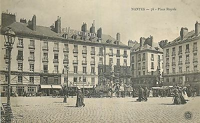 Cp Nantes Place Royale Animee - Cafe Continental