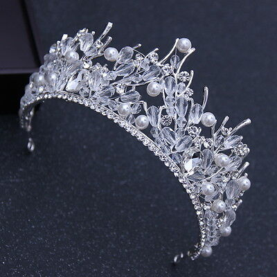 7cm High Large Pearl Clear Crystal Wedding Bridal Party Pageant Prom Tiara Crown
