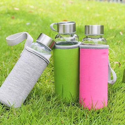 Sport Portable Glass Water Juice Bottle Drinking Lid Cup  Colors 280-600ml OK