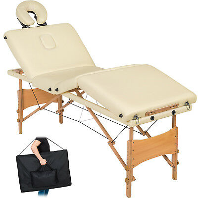 Table de massage 4 zones cosmetique lit esthetique pliante bois reiki beige +sac