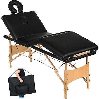 Table de massage 4 zones cosmetique lit esthetique pliante bois reiki noir + sac