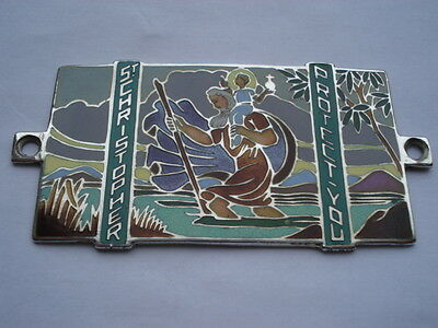 Rare 1937 St Christopher Silver & Enamel Picture Type Car Dashboard Plaque