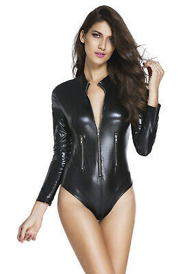 Body noir simili cuir wetlook manches longues col montant sexy rock glamour 4e248fbb121