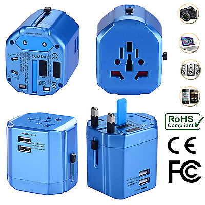 Universal World Travel Adapter With Dual USB Charger Wall AC Power -Sky Blue