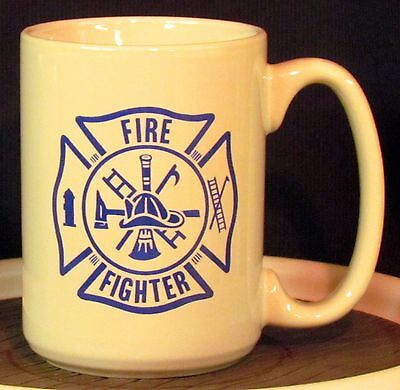 Fire Fighter Text in Blue in a Maltese Cross on a 12 oz. Coffee Mug **