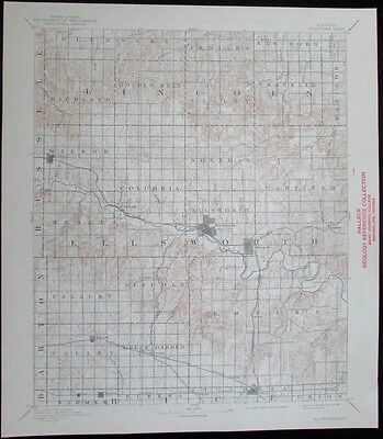 Ellsworth Kansas Smoky Hill River Green Garden vintage 1941 old USGS Topo chart