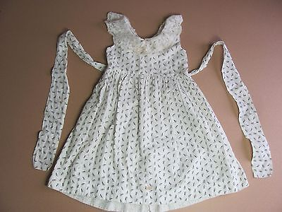 ORIGINAL VICTORIAN GIRLS ANTIQUE 1860s- 1870s WHITE CALICO DRESS WITH LACE
