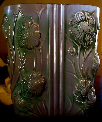 Antique Consolidated Art Glass Vase Cosmos Green Flashed RARE