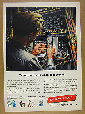 1949 Western Electric central office installer Bell Telephone vintage print Ad
